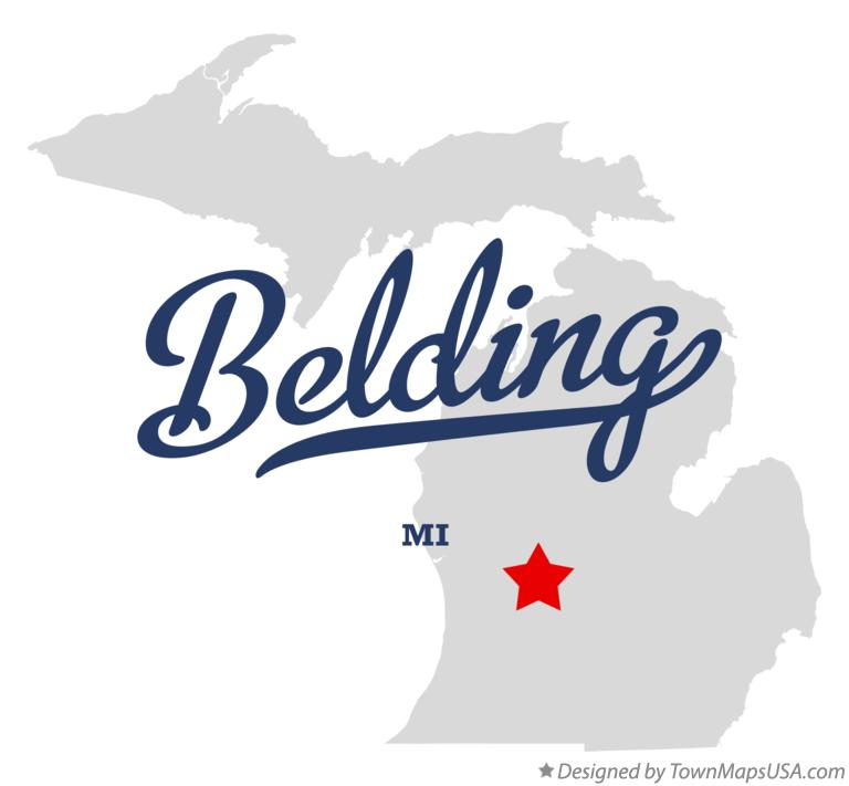 Map of Belding, MI, Michigan