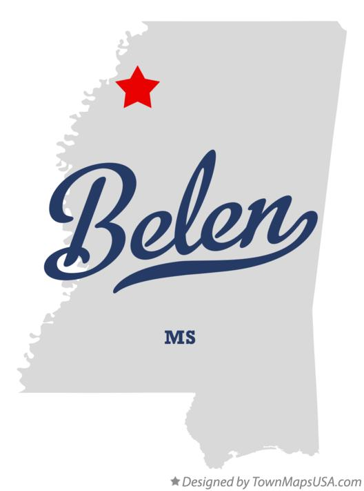 Map of Belen Mississippi MS