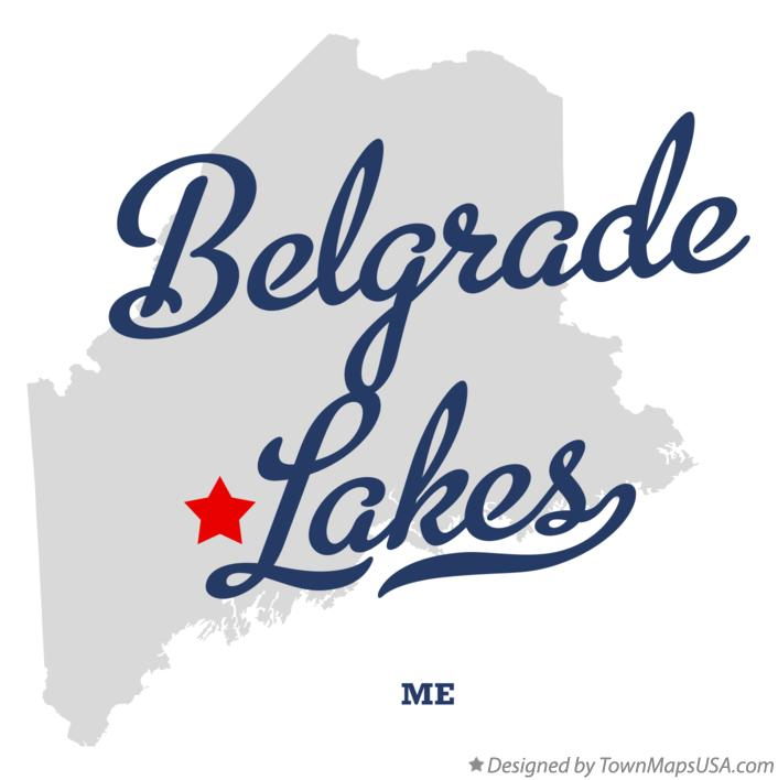 Map of Belgrade Lakes Maine ME