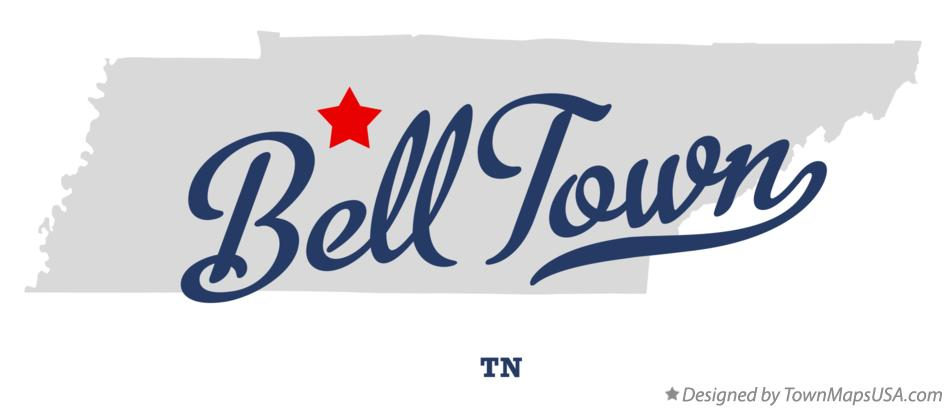 Map of Bell Town Tennessee TN