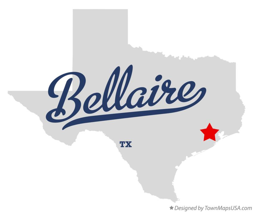 Map of Bellaire Texas TX