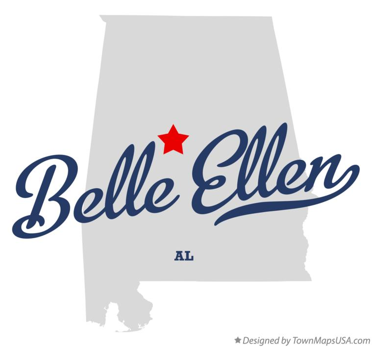 Map of Belle Ellen Alabama AL