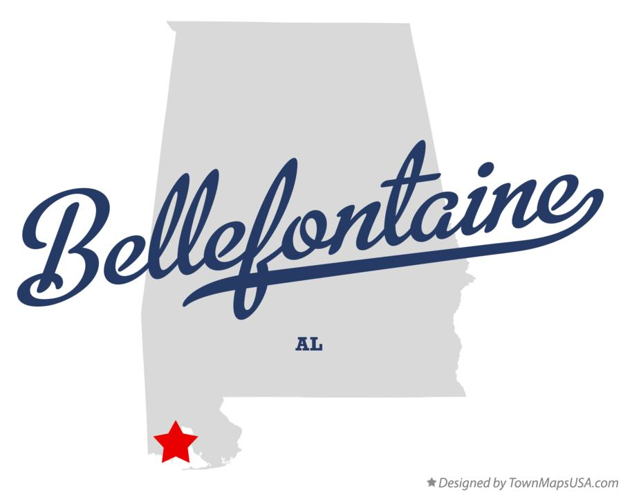 Map of Bellefontaine Alabama AL