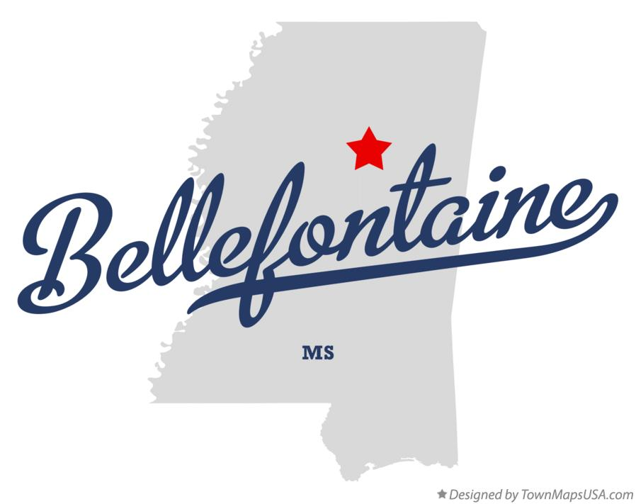 Map of Bellefontaine Mississippi MS