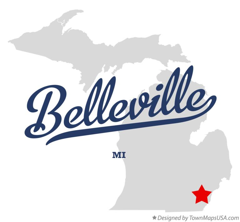 Map of Belleville Michigan MI