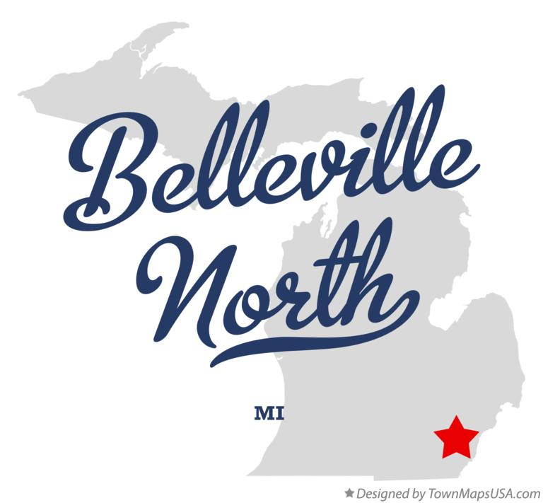 Map of Belleville North Michigan MI