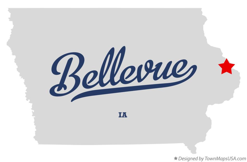 Map of Bellevue Iowa IA