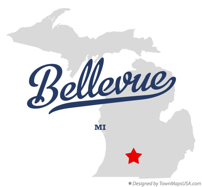 Map of Bellevue Michigan MI