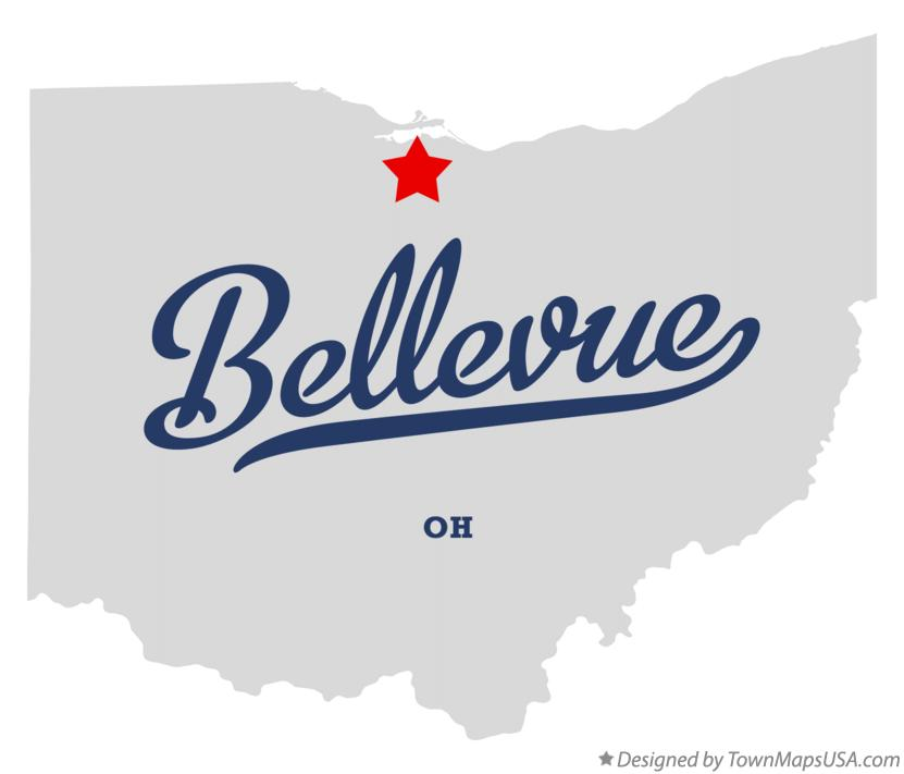 Map of Bellevue Ohio OH