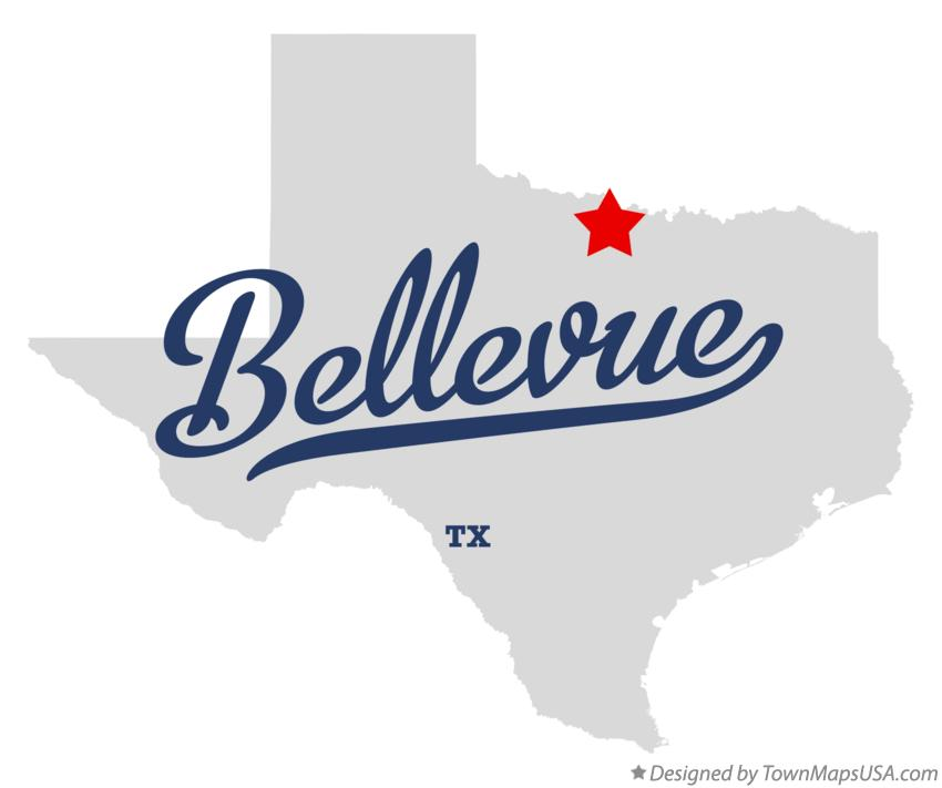 Map of Bellevue Texas TX