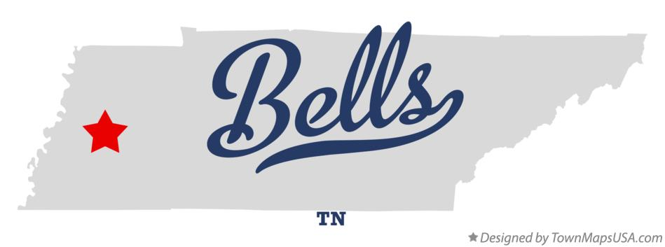 Map of Bells Tennessee TN