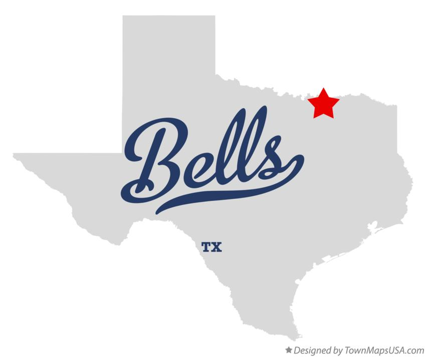 Map of Bells Texas TX