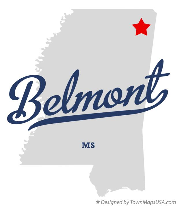 Map of Belmont Mississippi MS