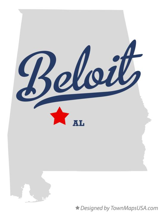 Map of Beloit Alabama AL