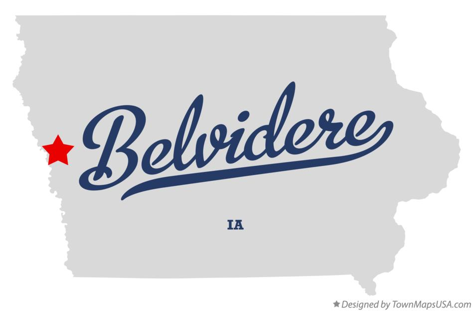 Map of Belvidere Iowa IA