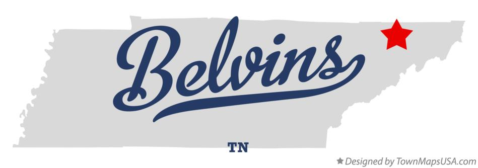 Map of Belvins Tennessee TN