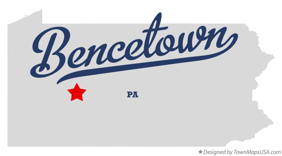 Map of Bencetown Pennsylvania PA