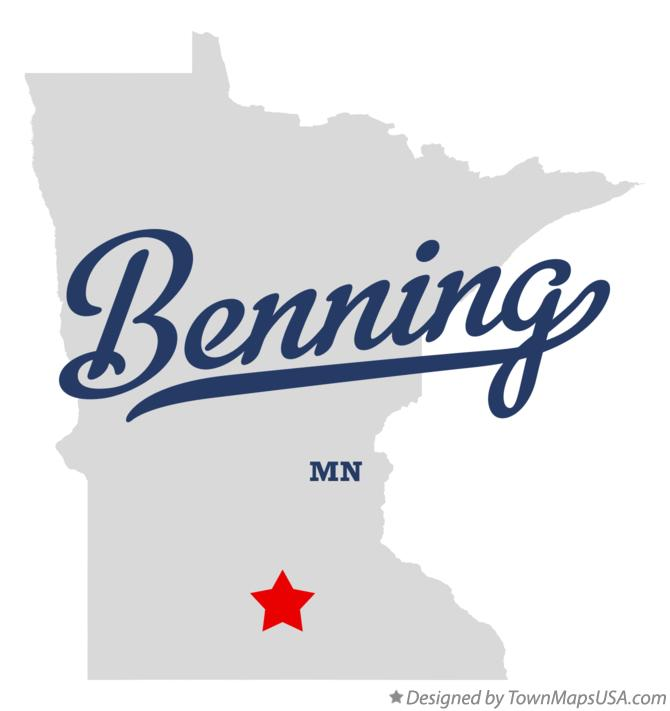 Map of Benning Minnesota MN