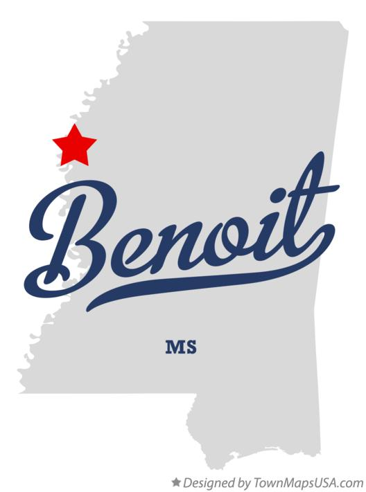Map of Benoit Mississippi MS