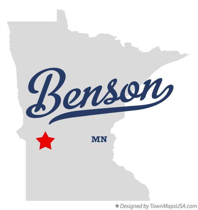 Map of Benson Minnesota MN