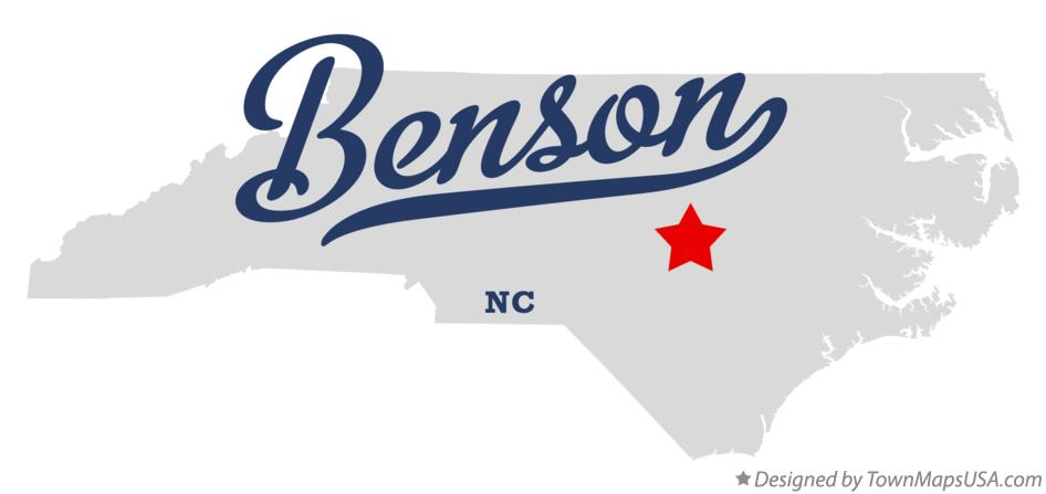 Map of Benson North Carolina NC