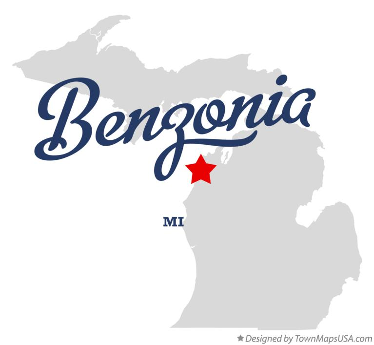 Map of Benzonia Michigan MI
