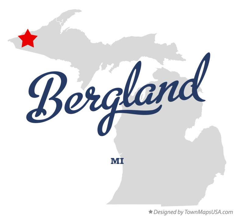 Map of Bergland Michigan MI