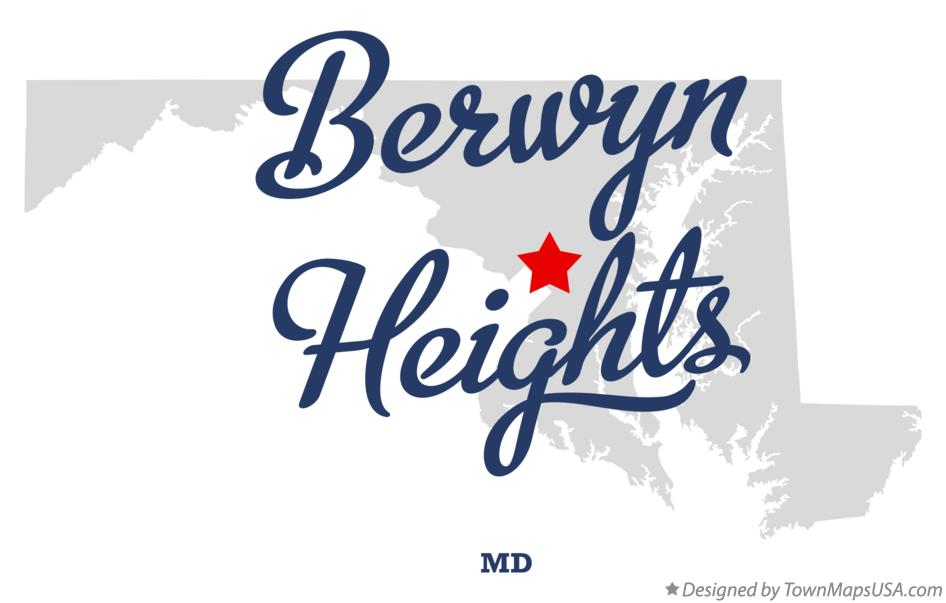 Map of Berwyn Heights Maryland MD