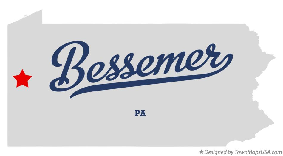 Map of Bessemer Pennsylvania PA