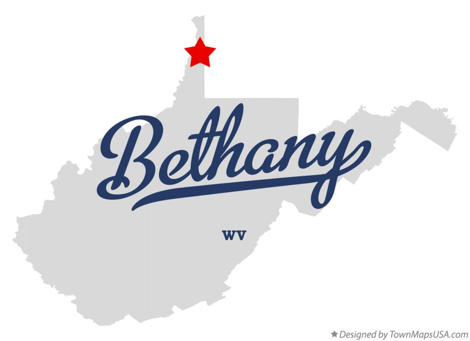 Map of Bethany West Virginia WV