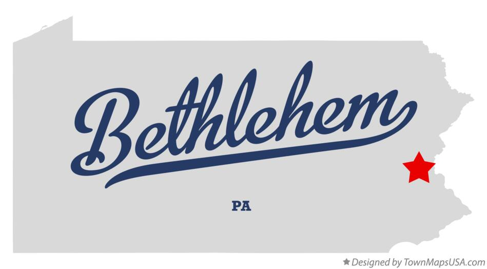 Map of Bethlehem Pennsylvania PA