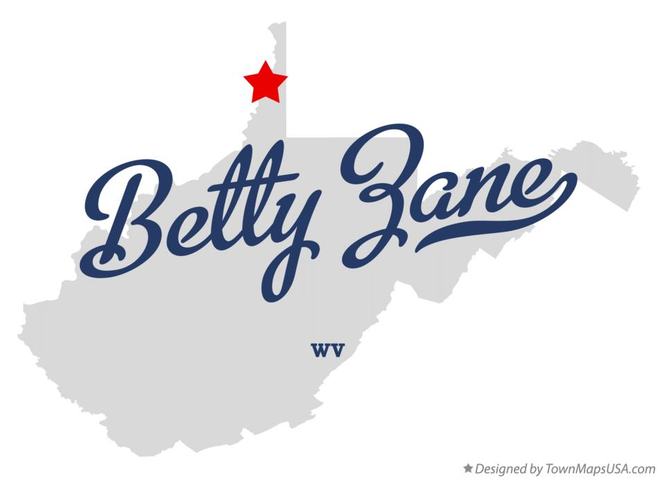 Map of Betty Zane West Virginia WV
