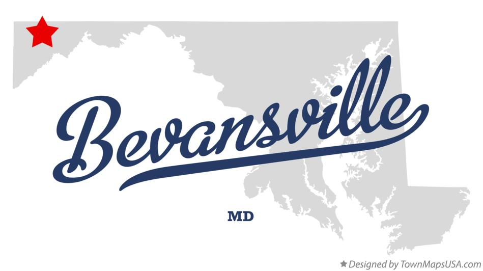 Map of Bevansville Maryland MD