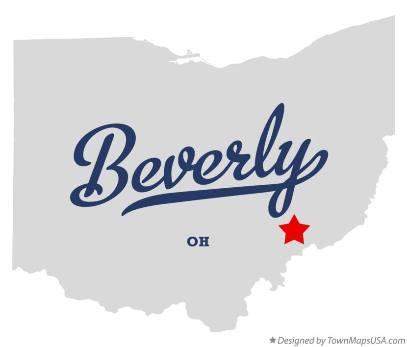 Map of Beverly, OH, Ohio