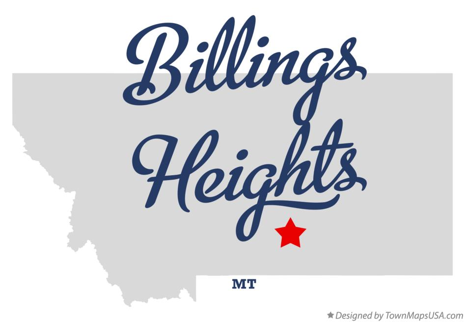 Map of Billings Heights Montana MT