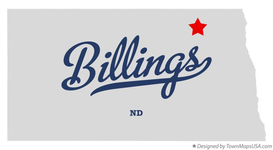 Map of Billings North Dakota ND
