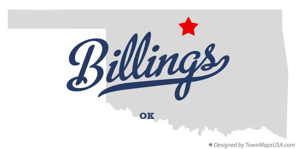 Map of Billings Oklahoma OK