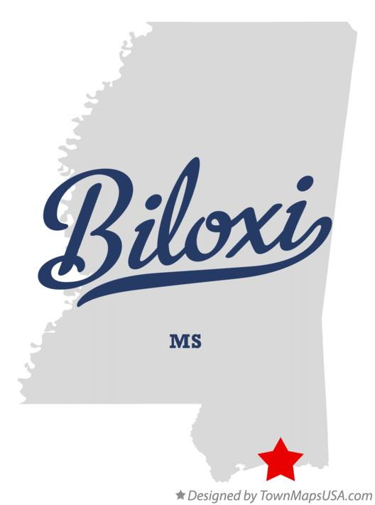 Map of Biloxi MS Mississippi