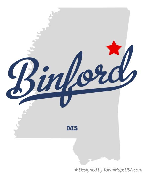 Map of Binford Mississippi MS