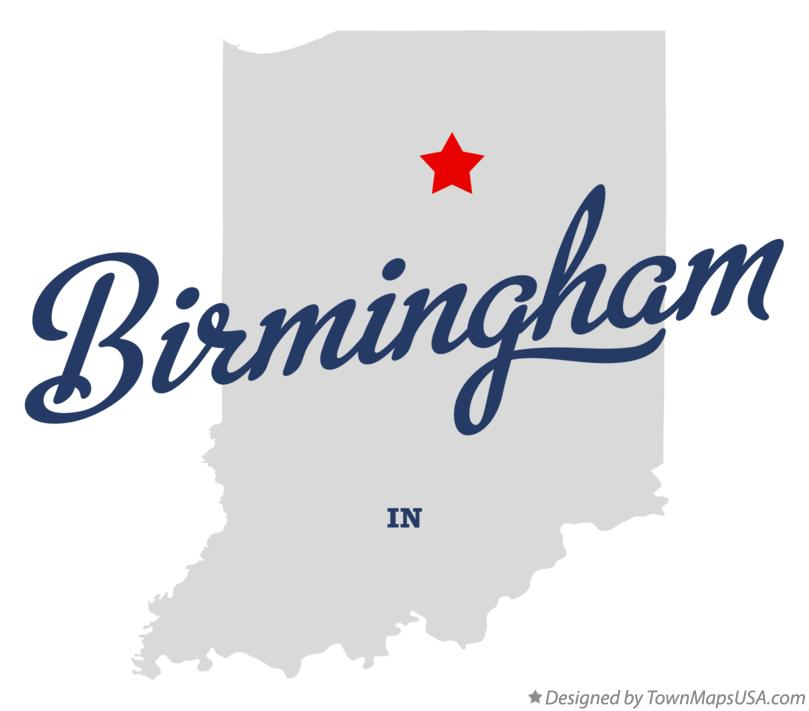 Map of Birmingham Indiana IN