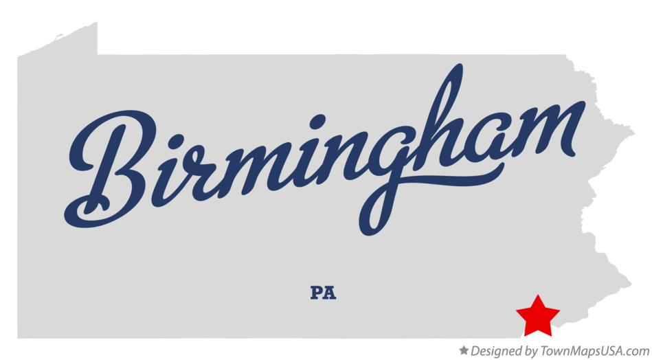 Map of Birmingham Pennsylvania PA