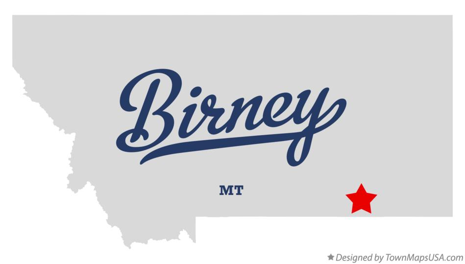 Map of Birney Montana MT