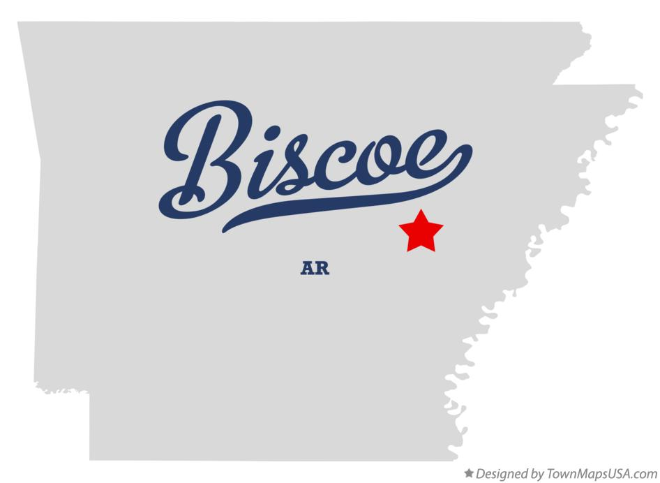 Map of Biscoe Arkansas AR