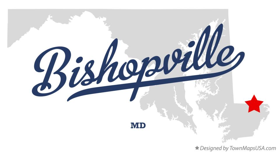 Map of Bishopville Maryland MD