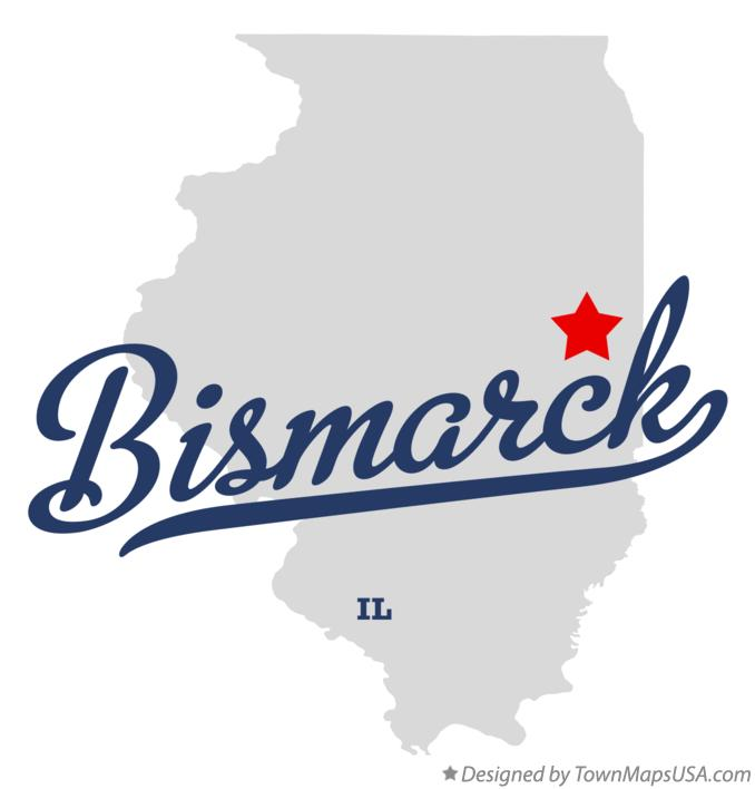 Map of Bismarck Illinois IL