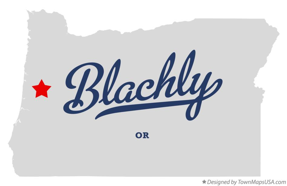 Map of Blachly Oregon OR