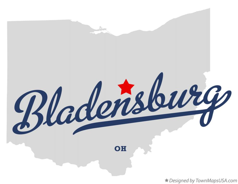 Map of Bladensburg Ohio OH