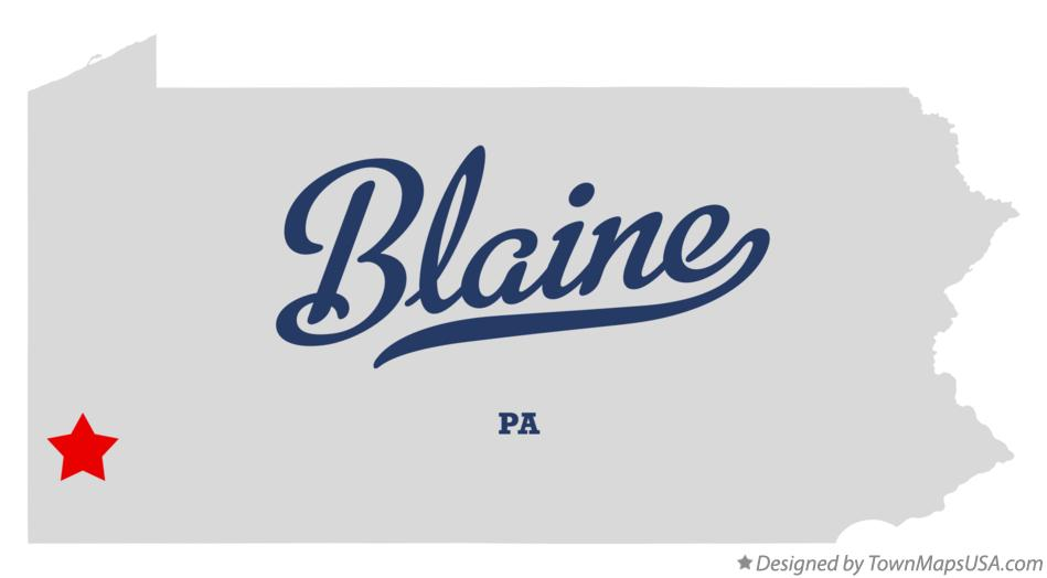Map of Blaine Pennsylvania PA