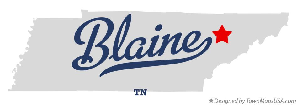 Map of Blaine Tennessee TN