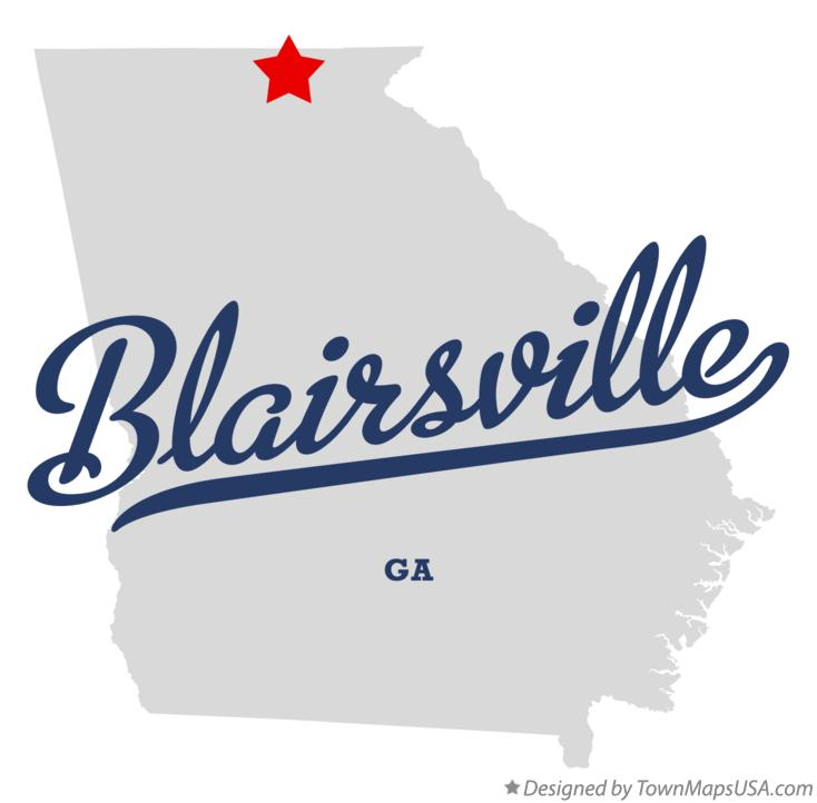 Map of Blairsville Georgia GA